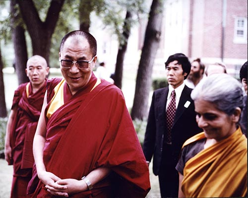 Theosophy HR 2 Radha walking with HHDL - July 1981